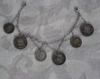 Price Reduced - Fabulous Antique English Coin Bracelet - Necklace Centerpiece - Vintage, World War II Era