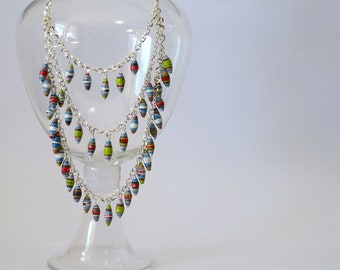 Long Tiered Paper Bead Necklace - Bold Red, Blue and Green
