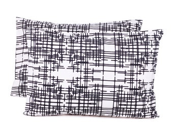 Decorative Pillow Cover - Lumbar Pillow Cover -  27 x 19 inches - Black White