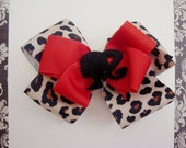 Leopard print glam girl bow