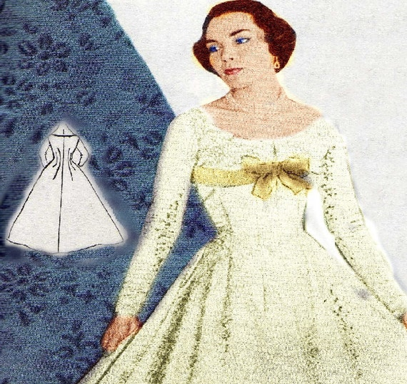 Vintage sewing pattern 1956 wedding dress pdf plus size for Wedding dress patterns free download