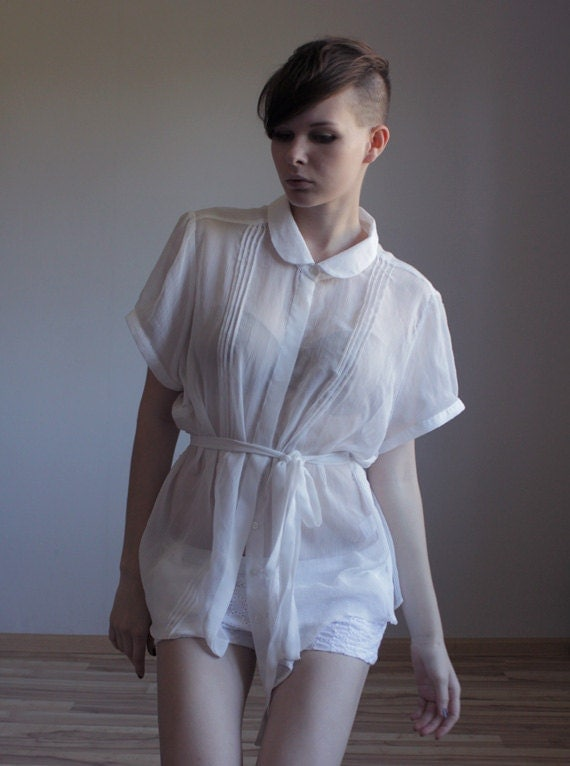 Sheer white peter pan collar blouse