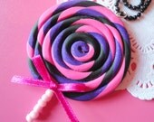 ON SALE - Big Cute Black, Purple and Hot Pink Necklace and HQ ball chain