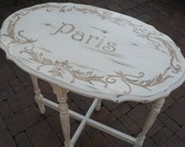 French Side Table Vintage Paris Ivory Distressed Shabby Chic Cottage Chic Paris Apartment OOAK