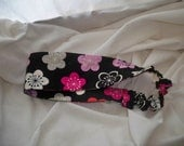 Headband Black Pink Flowers Elastic Scrunchie Women Hair Accessories
