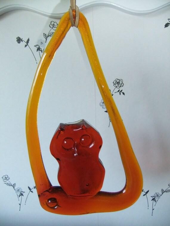 RESERVED SALE Vintage Swedish hanging owl in orange glass