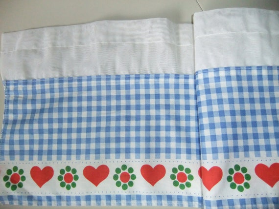 SALE Vintage Swedish Café curtain blue and white checkered with red hearts