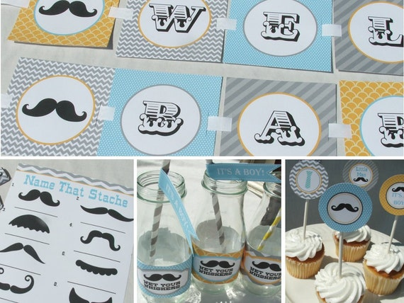 mustache baby shower decorations package boy gray yellow aqua blue
