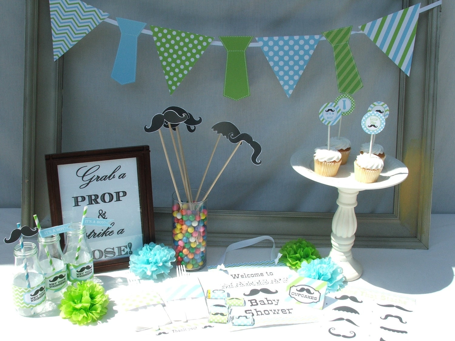 Boy baby shower decorations mustache little man by for Baby shower decoration centerpieces