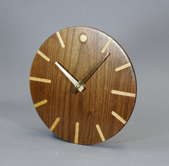 Walnut Veneer Wood Wall Clock 8 3/4 Inches In Diameter
