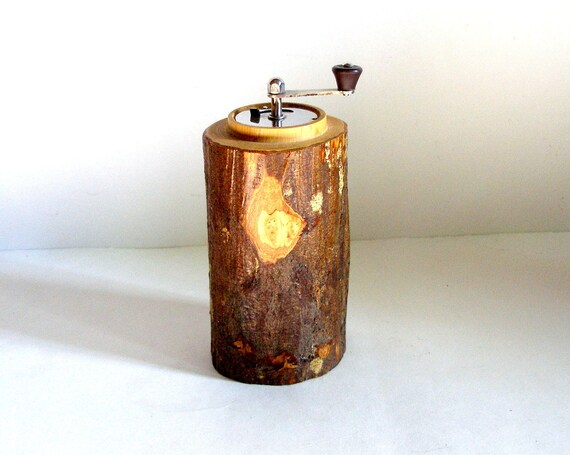 Vintage 70's MARLUX France Rustic WOOD PEPPERMILL, Unusual Design and Materials, Made in France
