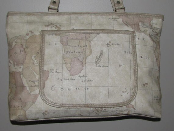 Back to School // Vintage GITANO Map WORLD Atlas Purse 80's 90's Hipster Large Light BROWN