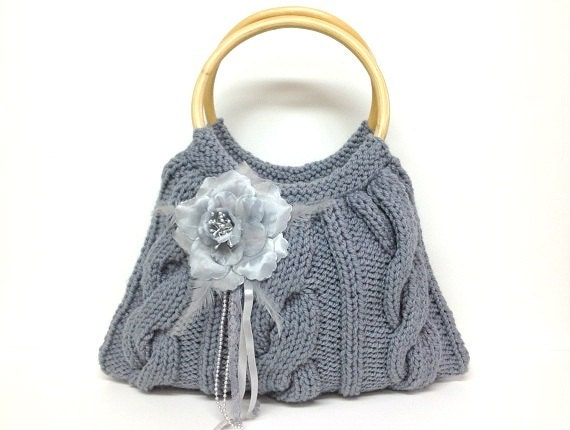 SALE SALE SALE grey knitted purse flower and real wood bag handles Christmas gift or for you