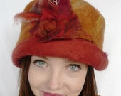 Felt Hand Made Hat Merino Wool and Silk Autum tones