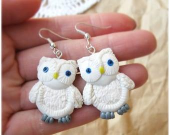 Owl Earrings, Little white Owls, White earrings, Cute owls,White owl, Dangle earrings, Kawaii earrings, Made to order