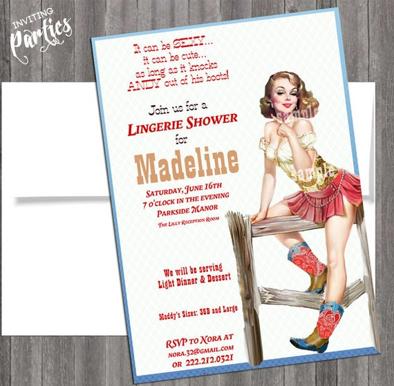 Western Cowgirl Pin Up Girl Invitation- Bachelorette party, Hens night, Lingerie Shower Birthday diy print file PRINTED OPTIONAL