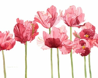 Set of Five Notecards Parrot Tulip Watercolor Painting Reproductions