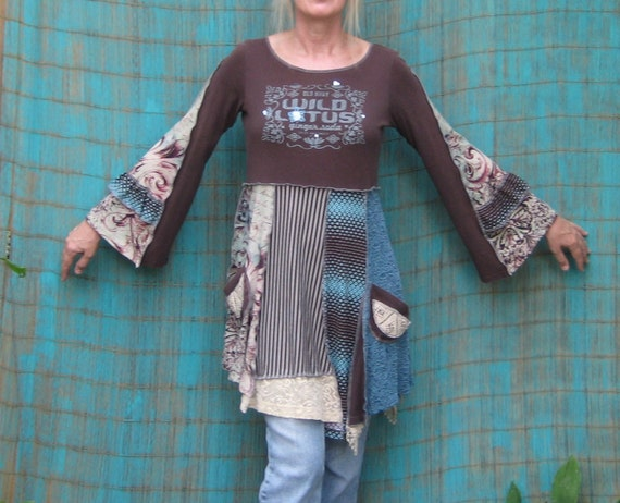 Reserved for Kaarina, Upcycled Tunic in Brown and Aqua, Babydoll Tunic, Long Sleeves, Size Small/Medium