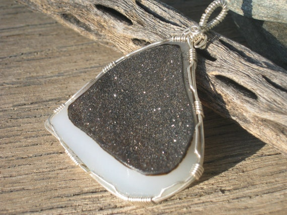 Abstract Druzy Pendant, Black and White Agate Druzie Gemstone, 999 Fine Silver, Wire Wrapped Druze Jewelry, READY To SHIP