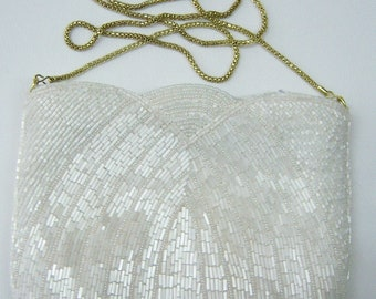 White bugle and seed bead evening purse with brass chain