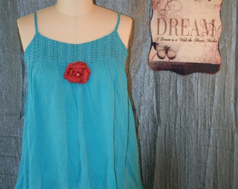 Upcycled Shabby Chic Tunic Blouse Bojo Gypsy Bohemian Tunic Country Chic Ranch Blouse Prairie Girl