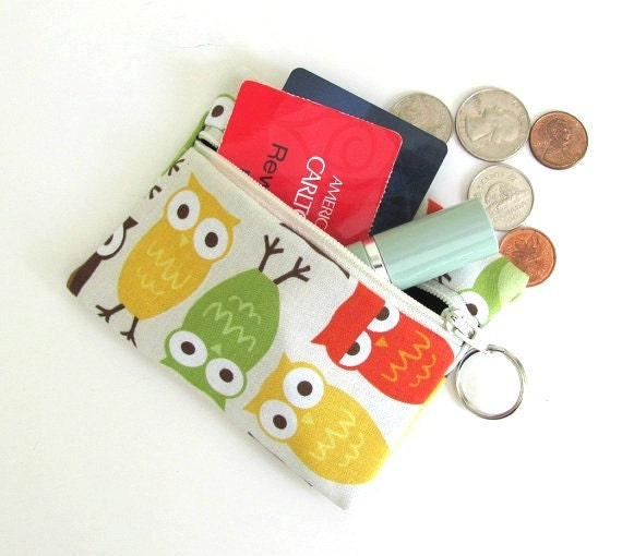 Owls Coin Purse Card Case with Key Ring