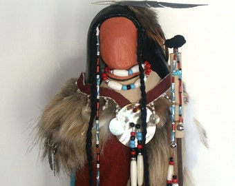 The Seeker Native American Indian faceless art doll collectible hand signed OOAK