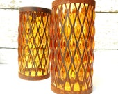 amber glass / pair sconces / rustic candle holders / autumn decor