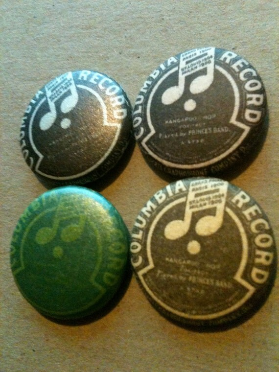 Columbia Records recycled letterpress pin-back button 4-pack