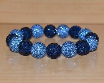 12mm Navy/Montana Blue/Dark Blue and Light Blue Pave Crystal Ball Bead Stretch Bracelet - 1216B