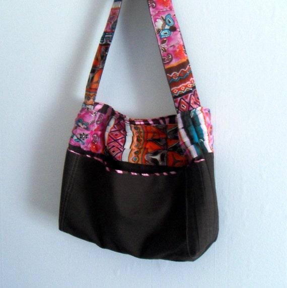 Bohemian Brown Shoulder Bag Tribal Pink Zebra Print Inside Purse Handmade Upcycled Eco-friendly