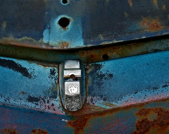 Abstract Fine Art Photography Automotive Still Life Color Industrial Blue, Riviera Hood 8x12