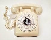 WORKING- Cream Rotary Phone Telephone White