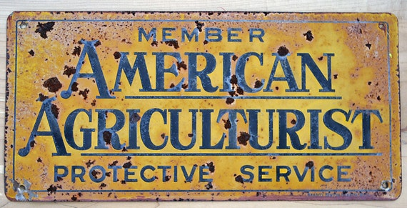 Antique Vermont Barn Embossed Metal Sign Member American Agriculturist Protective Service rare