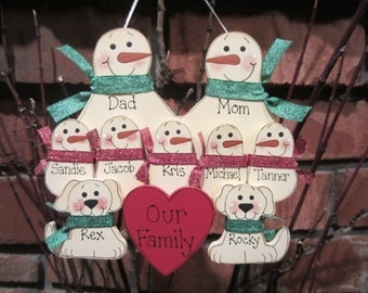 9 Family Members:  Personalized Snowman & Pet Ornament