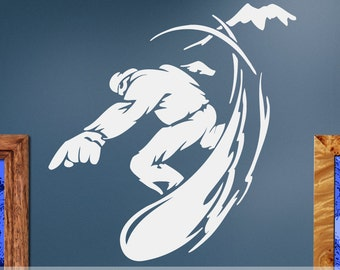 Wall Decal: Extreme Sports Snowboard, Snowboarder on a Mountain ES057