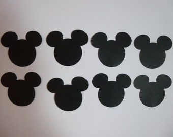 "40 Large Mickey Mouse Heads 1.75""- Double Sided Card Stock- Table Confetti, Disney Decorations"