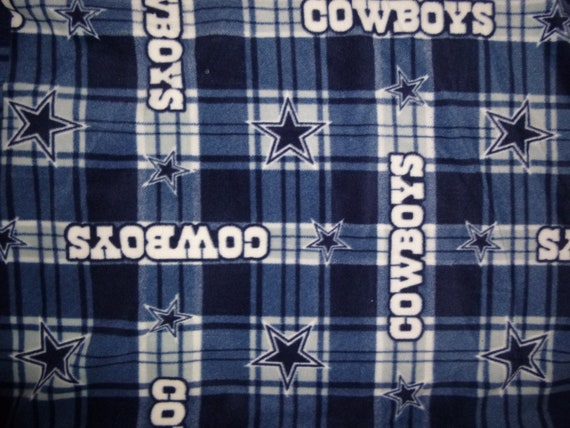 """Large, Adult Size Dallas Cowboys fleece blanket, no sew with navy back (60"""" x 72"""") Double Sided"""
