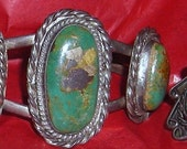 Vintage Native American  Silver Jewelry.... Turquoise Bracelet and Ring...Navajo Jewelry... Southwest Style