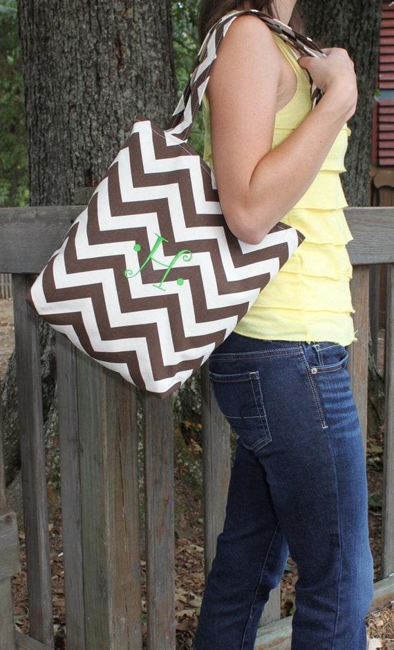 Brown and Cream CHEVRON stripe zigzag Handbag/ Diaper Bag/ Purse/ Tote/ Beach Bag- Large