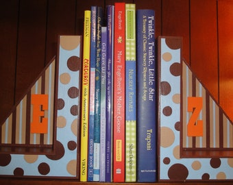 Custom Name Kids/Baby Room Wood Blocks Bookends