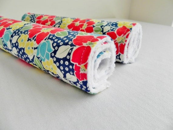 Baby Burp Cloths, Set of 2, Let's Play Large Floral in Navy and White Bubble Dot Minky