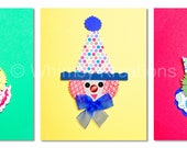 "Set of Three  8""x 10""  Clown Prints ,Kids Wall Art, Nursery Art"