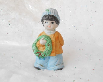 Vintage, Christmas Ornament Bell, Boy With Wreath, Bisque Porcelain, Kitschy