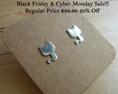 Black Friday Cyber Monday Sale - Cute 925 silver cat earring stud