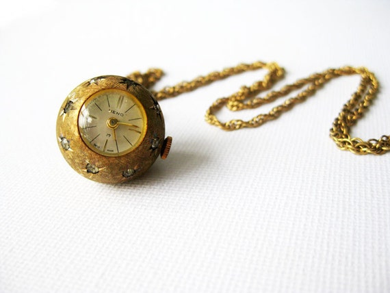 Black Friday Etsy Sale -Vintage Heno Clock Necklace from the 1950s- Cyber Monday Etsy Free Shipping