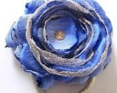 Blue & Gold fabric flower hair elastic