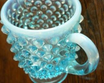 vintage Fenton art glass - HOBNAIL tall SUGAR BOWL Opalescent Blue Moonstone ...