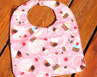 TODDLER or NEWBORN Bib: Cupcakes & Cherries, Personalization Available