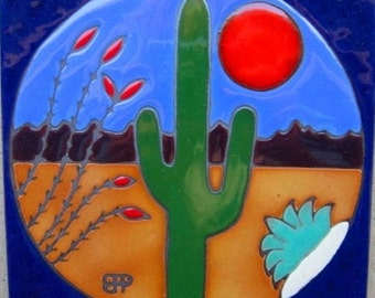 Hand painted ceramic tile Sahuaro cactus original art tile